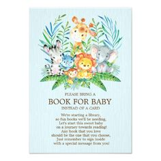 Safari Jungle Neutral Baby Shower Book for Baby Card - baby gifts child new born gift idea diy cyo special unique design Baby Shower Diapers, Baby Shower Gifts, Shower Baby, Safari Jungle, Jungle Animals, Baby Shower Giraffe, Diaper Raffle Tickets, Baby Shower Invitations, Zazzle Invitations