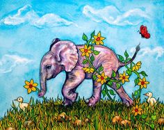 Elephant watercolour painting  Pinky Picks a by rachelledyer