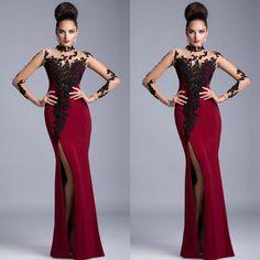 Custom Made High Collar Black Lace High Side Slit Long Burgundy Mermaid Elegant Women Prom Dress Evening Dress Long Sleeve