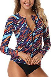 New AXESEA Women Long Sleeve Rash Guard UPF UV Sun Protection Zip Front Swimsuit Shirt Printed Surfing Shirt Top online shopping - Liketopapparel Rash Guard Swimwear, Surf Shirt, Tee Shirt, Rash Guard Women, Womens Tankini, Surf Outfit, Swimsuit Tops, Women Swimsuits, Printed Shirts
