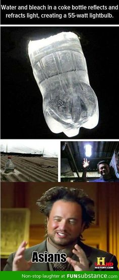 Solar light bulb. Brilliant! His hair makes me laugh every time