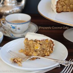 Pineapple Coconut-Cake ~ fluffy, spiced cake with pineapple, coconut, pecans and cream cheese frosting
