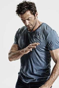 "An unlikely poster boy for meditation, Wolverine star Hugh Jackman revealed in the latest issue of Men's Health that meditation ""changed his life."" The August issue of the magazine features Hugh Jackman, Hugh Michael Jackman, Gorgeous Men, Beautiful People, Hugh Wolverine, Films Cinema, Look Man, Raining Men, Belle Photo"