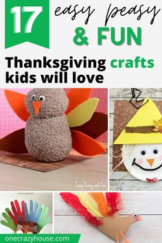 How fun are these craft ideas! Your kids will love these cute and simple Thanksgiving crafts for kids. #thanksgivingcrafts #papercrafts #turkeycrafts #thanksgiving #kidscrafts Kindergarten Thanksgiving Crafts, Thanksgiving Crafts For Toddlers, Easy Fall Crafts, Autumn Activities For Kids, Thanksgiving Activities, Crafts For Kids To Make, Preschool Activities, Diy Craft Projects, Craft Ideas