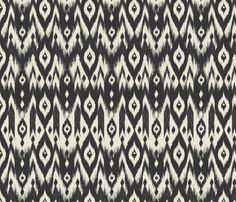 Black & Cream Tribal Ikat fabric by bohemiangypsyjane on Spoonflower - custom fabric