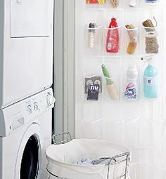 Organizing Cleaning supplies with a hanging shoe rack