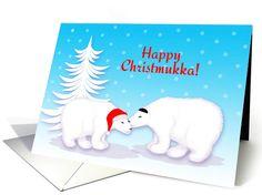 Christmukka Humor Snuggling Polar Bears in Snow card
