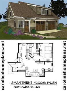 Craftsman style, 2-car garage/apartment plan. Live in the apartmant while building the main house.
