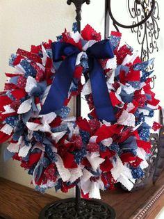Americana Crafts, Patriotic Crafts, Patriotic Wreath, July Crafts, Patriotic Decorations, Summer Crafts, 4th Of July Wreath, Wreath Crafts, Diy Wreath
