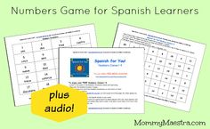 NEW Spanish for You! FREEBIE - Numbers Game for Spanish learners plus AUDIO!  Enjoy!!  http://www.mommymaestra.com/2015/07/free-download-numbers-connect-4-in.html