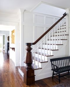 Captain's House stairwell-- great contrast.  linen white + dark wood