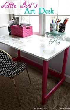 Homes.Com (diy art desk) gold spray paint, simple desk, art desk, lit Bureau D'art, Home Office, Simple Desk, Desk Areas, Desk Space, Art Desk, Little Girl Rooms, Kid Spaces, Office Spaces