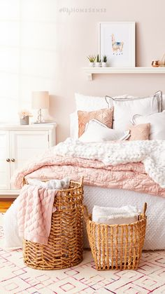 Your dreams will be pretty in Millennial pink with #MyHomeSense bedding in blush pink & bright white. Natural woven baskets add a warm, earthy touch to the flirty palette. Discover dreamy bedding at a HomeSense near you!