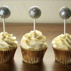 Next year...  Bring in the New Year with these cute mini Ball Drop Cupcake Toppers.