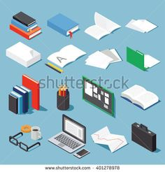Isometric office tools set: paper, books, folder, pen and pencil, glasses, laptop, case, diagram, open book and notebook and board. Collection for your business/education info graphic or illustration.