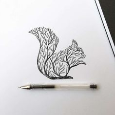 Italian artist Alfred Basha combines animals and natural elements such as trees, branches and leaves to create his beautiful drawings. More illustrations via Ideia Quente Pen Illustration, Ink Illustrations, Ink Drawings, Animal Drawings, Drawing Animals, Tattoo Sketches, Alfred Basha, Squirrel Tattoo, Natur Tattoos