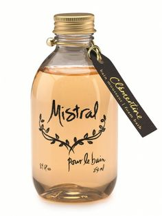 Mistral Clementine Atelier Luxury Bubble Bath---pure summer ! orange blossom, pineapple, jasmine mndarin and bergamot. 18 dollars. it has a shea-butter base.