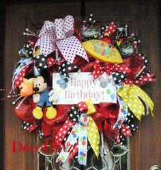 MICKEY MOUSE Happy BIRTHDAY Wreath by decoglitz on Etsy