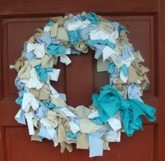 Shabby Chic Wreath Home Front  Door Decor Summer Ocean by earthluv, $40.00