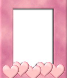 Marco para foto con el borde color rosa con decoración de corazones. Sube una imagen, recórtala y ponle este borde como decoración que inspira amor. http://www.fotoefectos.com