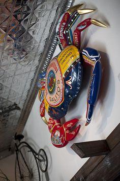 Our crab logo with beautiful tin ceiling. Salito's Crab House & Prime Rib 1200 Bridgeway, Sausalito, CA