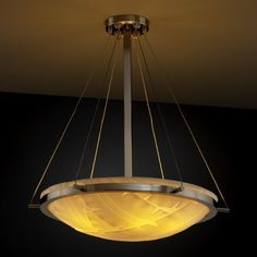 """Justice Design Group PNA-9692 24"""" Round Bowl Pendant with Ring from the Porcelin Brushed Nickel with Pleated Shades Indoor Lighting Pendants"""