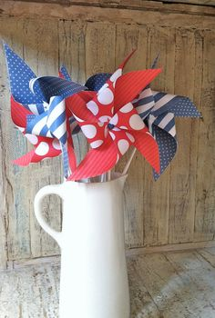 Red White and Blue  set of 6 Large Americana Decor  by HalosHaven, $18.00