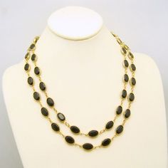 Mid Century Black Bezel Set Crystals Extra Long Vintage Necklace 41in Single Double Strand