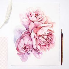See bio link for purchase☕️ . Watercolor Artists, Watercolor Cards, Watercolor Landscape, Watercolor Illustration, Watercolor Flowers, Watercolor Tattoos, Peony Painting, Watercolor Painting, Watercolors