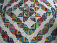 Finely Finished Quilts: My Scrap Quilts.  Curved log cabin blocks