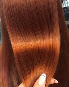 A mesmerising shine on gorgeous straight copper red hair. Created by Wella Educator Laila Pettersen.