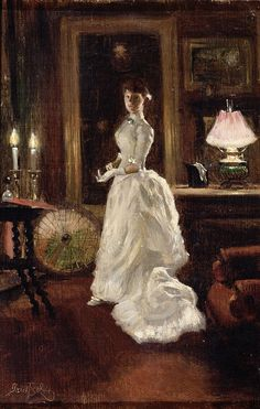 Interior Scene with a Lady in a White Evening Dress, Paul Fischer
