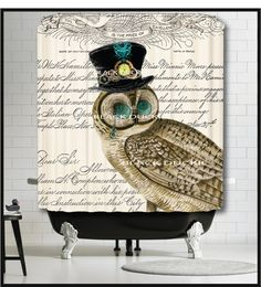 Steampunk Owl Shower Curtain - Owl bird top hat clock watch antique book page shower curtain by MySillyPoni Owl Shower, Coastal Living Magazine, Acrilic Paintings, Antique Illustration, Owl Bird, Etsy Shipping, Antique Prints, Antique Books, Book Pages