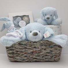 Baby Boy Gift, Baby Boy gift basket, Baby Gift, Grey & Blue, by RsBabyBaskets on Etsy