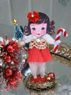 Vintage Inspired Christmas SuGaR SwEeT Christmas  Keepsake Paper Posy Doll. $12.00, via Etsy.