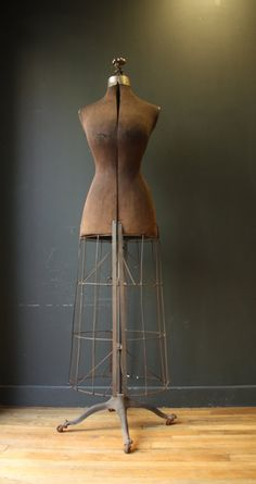 Antique Victorian Dress Form with Metal Cage
