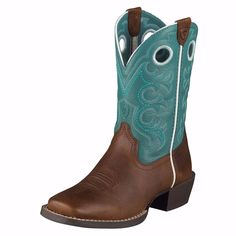 Ariat Crossfire Kid's Brown and Turquoise Square Toe