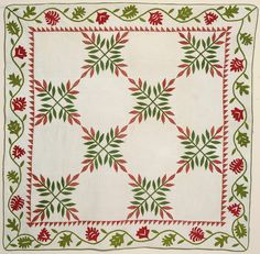 Laurel Leaf Quilt: Circa 1860; Pennsylvania