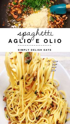 Spaghetti Aglio E Olio with pancetta - so light and full of flavor!