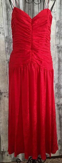 Silk Studio Red Jacquard Dress 100% Silk Pleated Maxi Floral Spaghetti Strap 14 #SilkStudio #DressMaxi