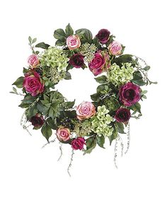 This wreath features a lifelike rose and hydrangea arrangement to fill your space with lifelike natural charm. This piece requires no soil or water, so you can enjoy realistic blooms with no worries.