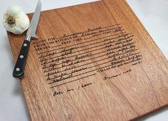 Your Handwritten Recipe - Custom Engraved Wood Cutting Board  - Mahogany Wood - 15 x 9. $39.00, via Etsy.