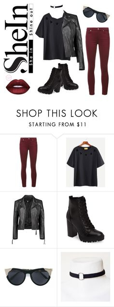 """""""Rock Rebel Look - SheIn Contest"""" by kimber-rose on Polyvore featuring 7 For All Mankind, Boohoo, Steve Madden and Smoke x Mirrors"""