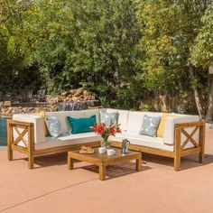 4-Piece Wooden Sectional Set with Beige Cushions — Pier 1 Outdoor Sofa Sets, Outdoor Seating, Outdoor Spaces, Outdoor Living, Outdoor Furniture Sets, Outdoor Decor, Furniture Ideas, Ikea Furniture, Painting Furniture
