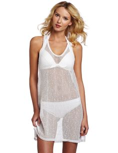 Calvin Klein Women's Mesh Tank Cover Up Dress, Ck White, Large