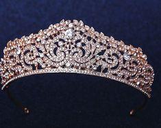 Bridal Crown Bridal Tiara Rose Gold Wedding Tiara Swarovski