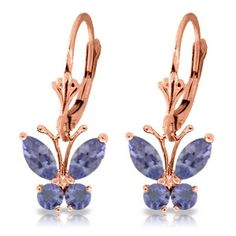 14K Solid Rose Gold Butterfly Earrings Natural Tanzanite - 1992-R