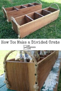 Easy Project! How to make a divided crate using reclaimed wood or pallets etc. #spon #easywoodworkingideas #woodcraftprojects