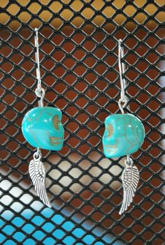 Skully Wing earrings  Love Lizzie Lou  Handcrafted jewelry and wine glass charms  http://www.facebook.com/Love.Lizzie.Lou