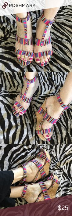 Just Fab Rainbow striped wedge platform 👠 Beautiful like new just fab brand rainbow wedge shoes with ankle strap-Judi sz 7.5 just fab Shoes Platforms